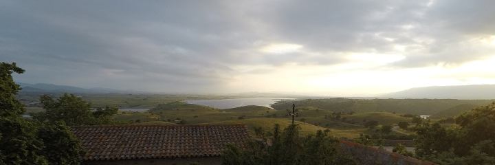 Panorama of Coghinas Lake and hills