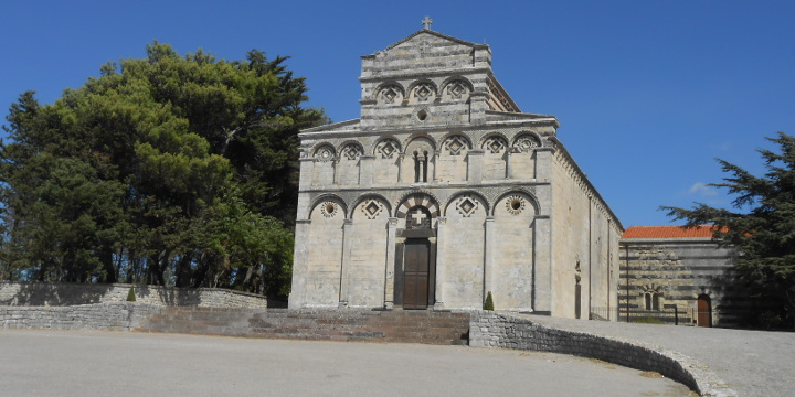 Facade of the ancient cathedral of San Pietro di Sorres